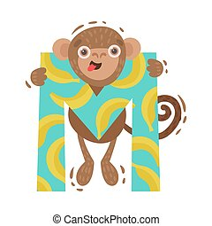 Monkey with the letter M. Vector illustration on a white background.