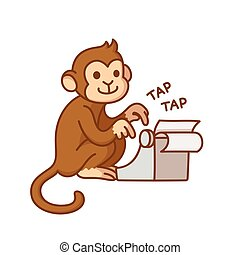 Monkey with typewriter, humorous cartoon illustration. Cute...