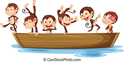 Monkeys and boat - Illustration of monkeys on a boat