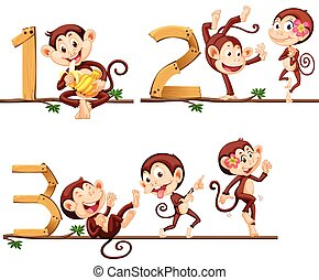 Monkeys and number one to three illustration