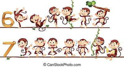 Monkeys and number six and seven illustration