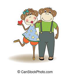 monkeys couple in love