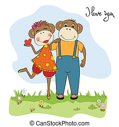 monkeys couple in love, Valentine's day card