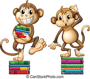 Monkeys - Illustration of two monkeys with books