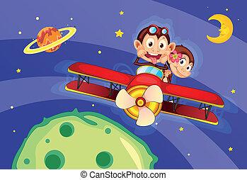 monkeys in aircraft - illustrtion of a monkeys flying in...