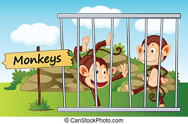 monkeys in cage - illustration of a monkeys in cage and...