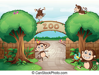 Monkeys in zoo - Illustration of monkeys in zoo and a green...