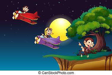 Monkeys on a plane flying near the cliff