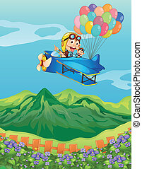 Monkeys on a plane with balloons