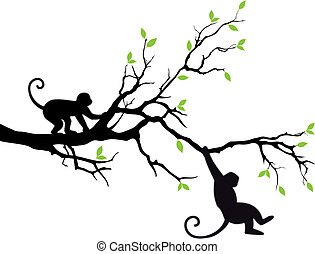 monkeys on tree, vector - monkey hanging on tree branch, ...