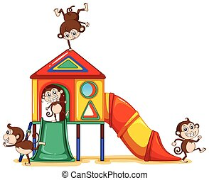Monkeys playing at the playground