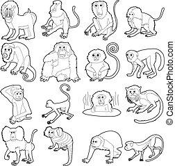 Monkeys types icons set, outline style