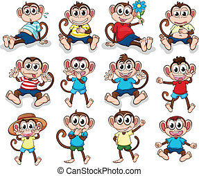 Illustration of the monkeys with different emotions on a white background