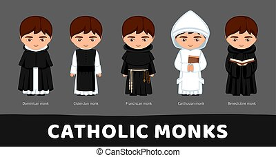 monks., セット, 漫画, benedictines, franciscans, カトリック教, cistercians, characters., dominicans., carthusians