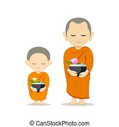 Monks and novices holding alms bowls, isolated on white ...