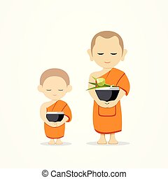 Monks bowl and thai novice, of Buddhism vector design, ...