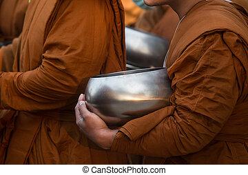 monk's, buddista, ciotola, elemosina