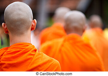 Monks - Close up of a group of young Buddhist monks