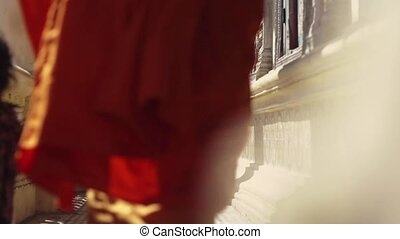 Monks meet in buddhist monastery