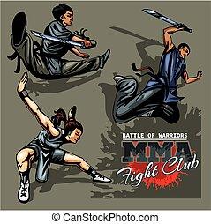 Monks of Shaolin - color vector stock illustration.