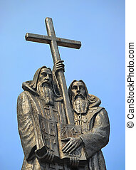 Monks with cross