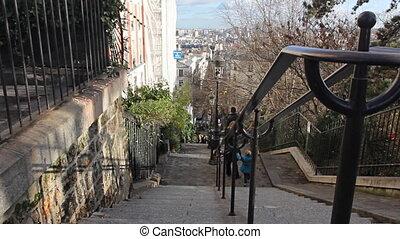 Monmartre. - Typical street in Monmartre, Paris.