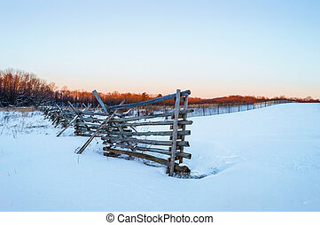 Monmouth Battlefield Dusk - An old wooden fence part of a...