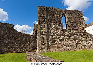 Monmouth Castle Monmouthshire Wales uk ruins of building and...