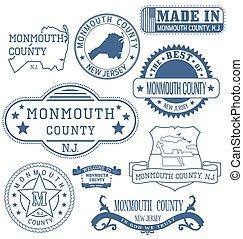 monmouth, condado, señales, genérico, nj, sellos