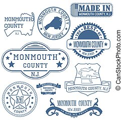 Monmouth county, New Jersey. Set of generic stamps and signs.