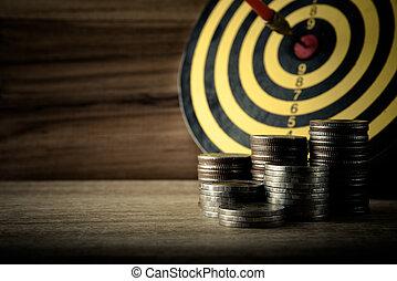 monnaie, à, panneau dard, sur, les, bois, table, fond, dans, finance, et, cible, concept