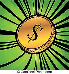 monnaie, à, symbole, de, dollar américain, monnaie