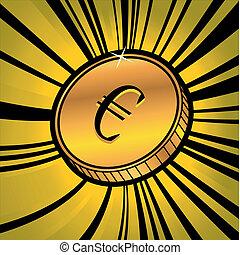 monnaie, à, symbole, de, euro devise
