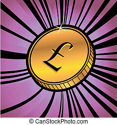 monnaie, à, symbole, de, livre sterling, monnaie