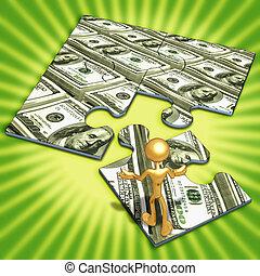 monnaie, américain, concept, puzzle