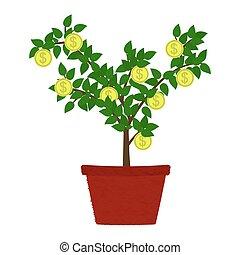 monnaie, arbre, vase