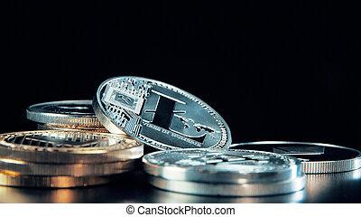 monnaie, arrière-plan., argent, stand., litecoin, rotation, noir, crypto