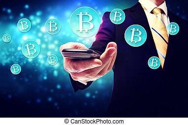 monnaie, bitcoin, intelligent, téléphone