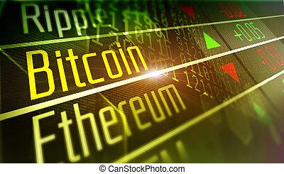 monnaie, bitcoin, marché, crypto