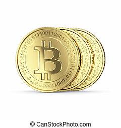 monnaie, bitcoin, monnaie, trois, numérique