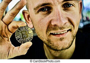 monnaie, bitcoin, or, main