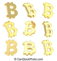 monnaie, bitcoin, render, signe