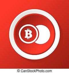 monnaie, bitcoin, rouges, icône