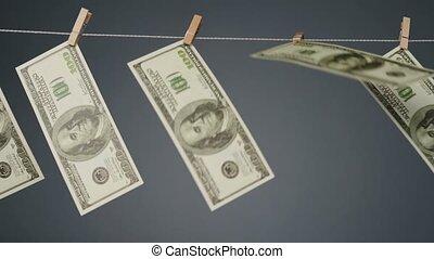 monnaie, clothesline, corde, vidéo, souffler