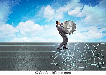 monnaie, concept, à, homme affaires, sur, courant, sentier