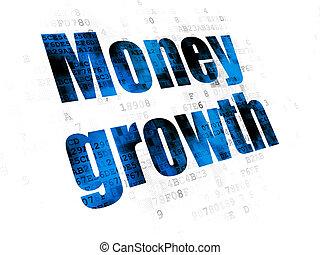 monnaie, concept:, argent, croissance, sur, arrière-plan numérique