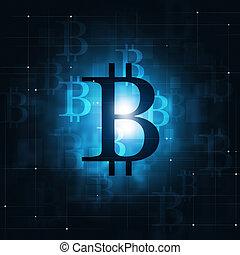 monnaie, concept, bitcoin, fond, crypto