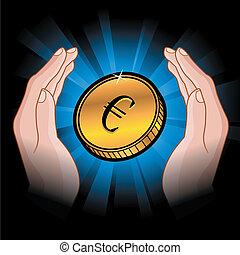 monnaie, dans, mains