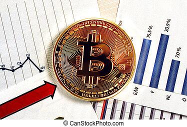 monnaie, diagramme, crypto, bitcoin