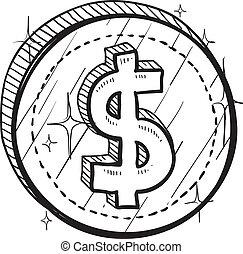 monnaie, dollar, américain, croquis